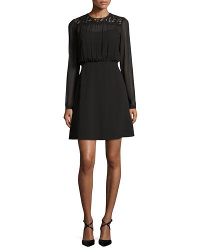 Long-Sleeve Lace-Yoke Dress, Black