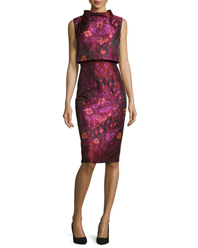 Sleeveless Floral Popover Dress, Bordeaux/Multicolor