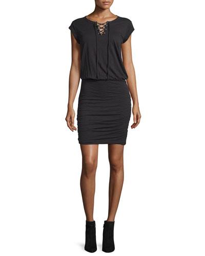 Karmen Cap-Sleeve Lace-Up Dress, Black