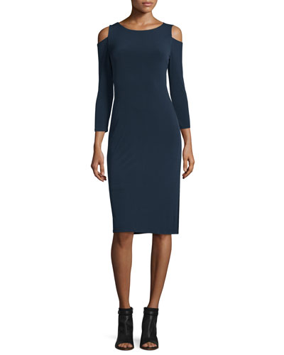Valentina Cold-Shoulder Sheath Dress, Ink