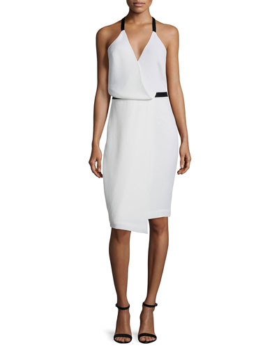Sleeveless Faux-Wrap Dress, White
