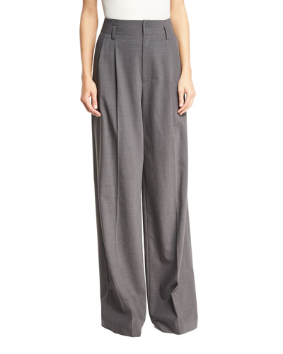 High-Rise Wide-Leg Pleated Wool-Blend Pants, Derby