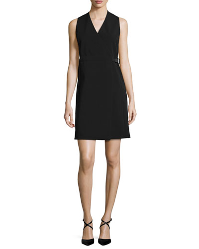 Sleeveless Belted Wrap Dress, Black