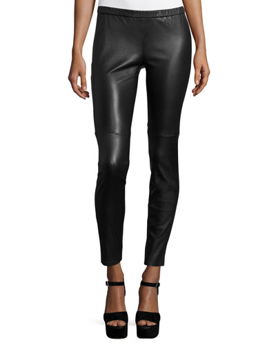 Lambskin Leather Leggings, Black