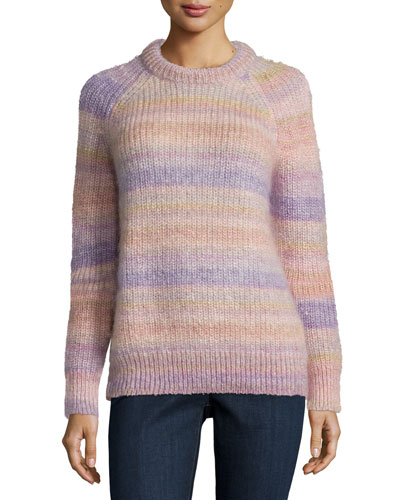 Long-Sleeve Striped Shaker Sweater, Thistle