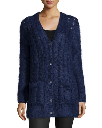 Long-Sleeve Cable-Knit Cardigan, Indigo