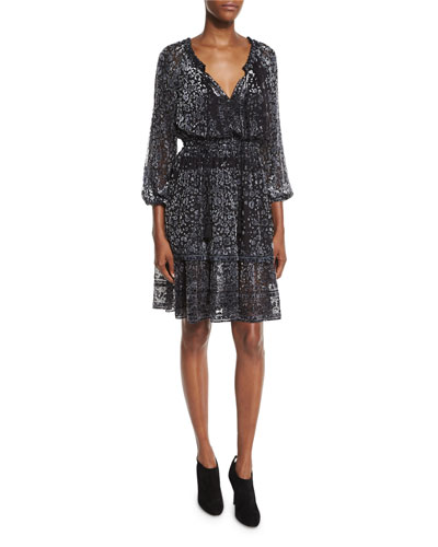 Olsen 3/4-Sleeve Semisheer Floral-Print Dress, Black Multi