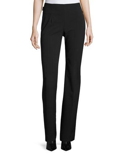 Wool-Blend Straight-Leg Pants, Black