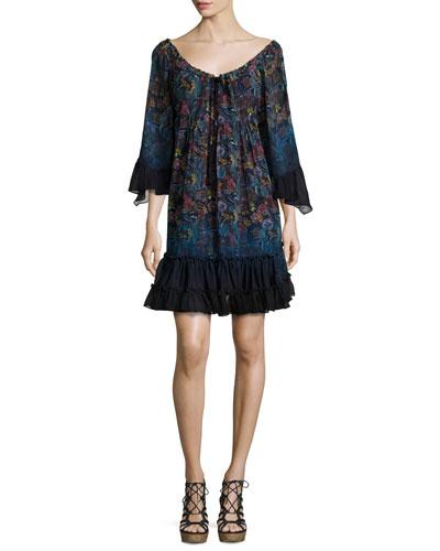 Lupita Floral-Print Chiffon Dress