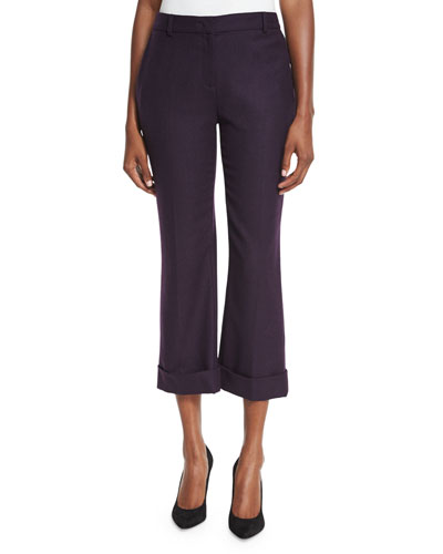 Quin Cropped Wide-Leg Pants, Aubergine