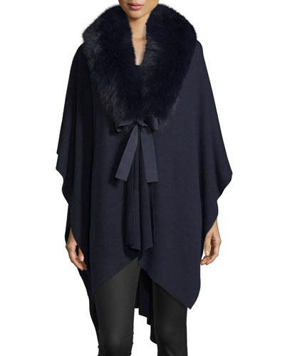 V-Neck Cashmere Wrap w/ Fox Fur Collar, Navy