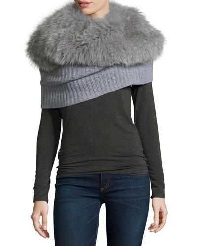 Ribbed Cashmere Shrug w/ Detachable Fox Fur Collar
