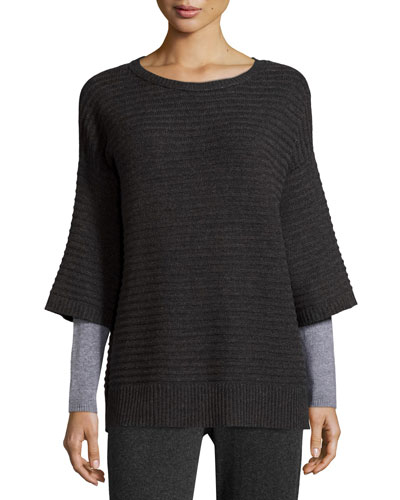 Colorblocked Layered-Sleeve Cashmere Sweater, Charcoal/Silver