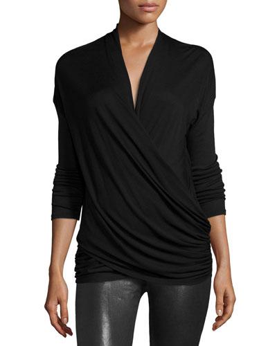 Jazlynn Long-Sleeve Ruched Surplice Top, Black
