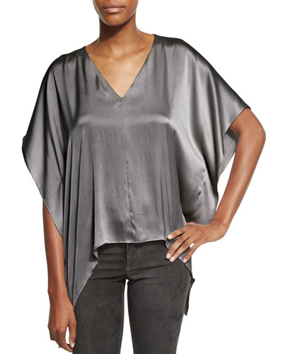 Nola Boxy V-Neck Satin Top, Charcoal
