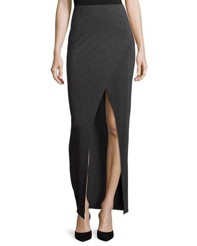 Yasmin Overlap Maxi Skirt, Charcoal