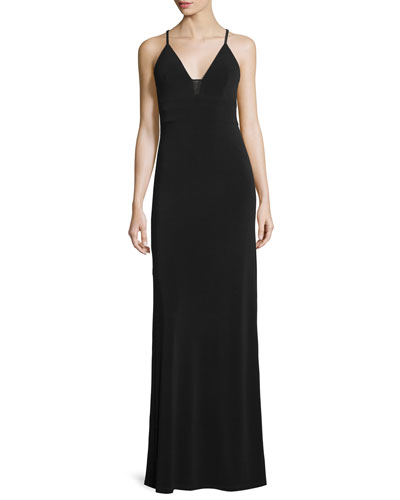 Sleeveless Sheer-Inset Maxi Dress, Black