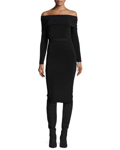 Lara Off-the-Shoulder Fitted Midi Dress