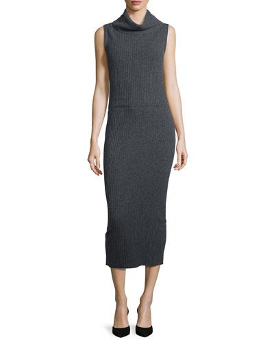 Arra Sleeveless Ribbed Turtleneck Midi Dress, Charcoal