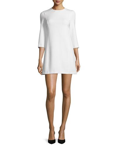 Gem 3/4-Sleeve Ponte Shift Dress, White