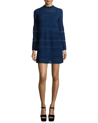 Mix-Stitched A-Line Dress w/ Ruffled Collar, Navy