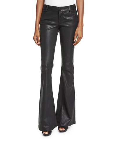 Leather Flare Pants, Black