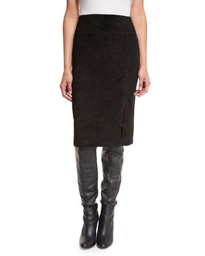 Tani Suede Pencil Skirt, Black