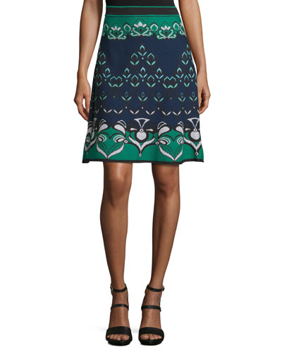Floral Jacquard Knit Skirt, Teal