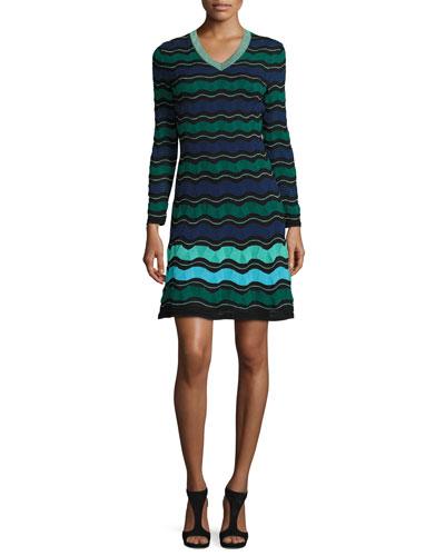 Long-Sleeve V-Neck Ribbon-Striped Dress, Teal