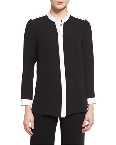 Teagan Colorblock Silk Blouse, Black/Cloud, Plus Size
