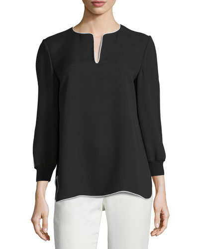 Kelsey Contrast-Trim Blouse, Black, Plus Size