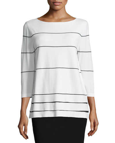 Boat-Neck Striped 3/4-Sleeve Sweater, Cloud/Black, Plus Size