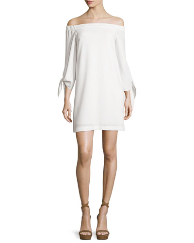Structured Crepe Off-the-Shoulder Shift Dress, Ivory