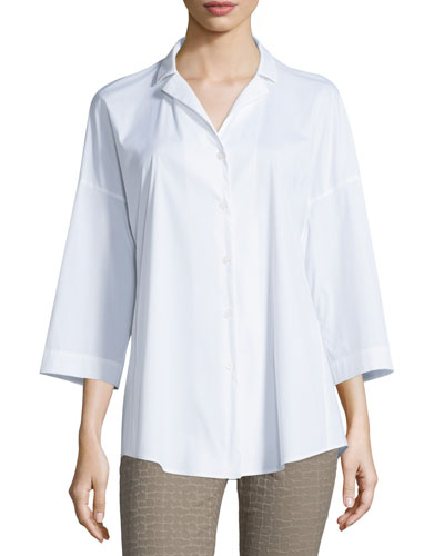 Analeigh Bracelet-Sleeve Blouse, White, Plus Size