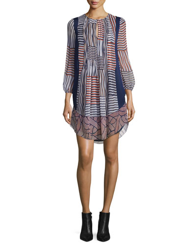 Kailyn Woven Collage Silk Shift Dress