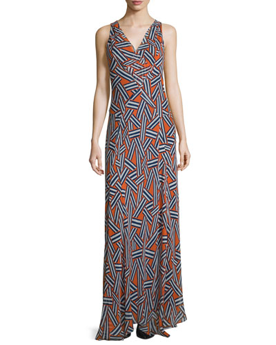 Dita Sleeveless Ribbon Rectangles Silk Gown, Orange
