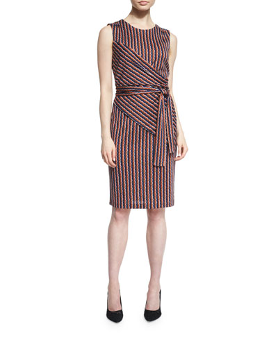 Ashlie Sleeveless Rickrack Stripe Silk Dress, Khaki/Orange/Midnight