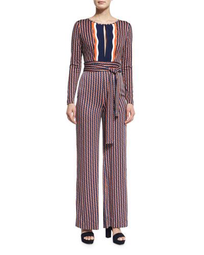 Starla Long-Sleeve Rickrack Stripe Jumpsuit, Khaki/Midnight/Orange