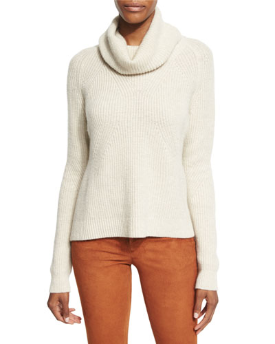 Nettie Transfer-Knit Ribbed Sweater, Cream