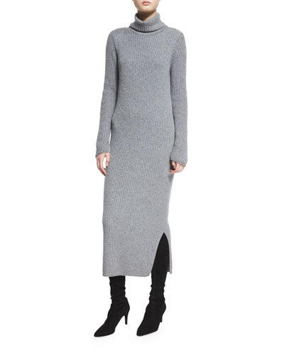 Gwen Long-Sleeve Ribbed Turtleneck Midi Dress, Charcoal