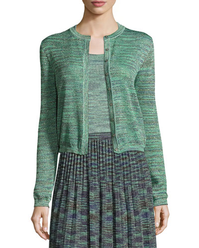Space-Dyed Lurex® Cropped Cardigan, Olive