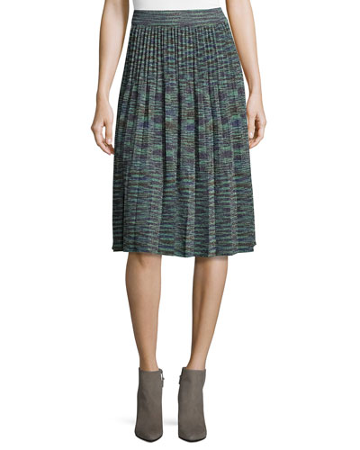 Space-Dyed Lurex® Pleated Plisse Skirt, Teal