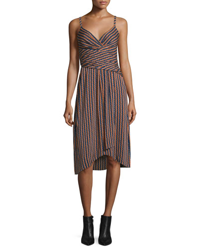 Saige Striped Stretch Silk Dress, Rickrack Khaki