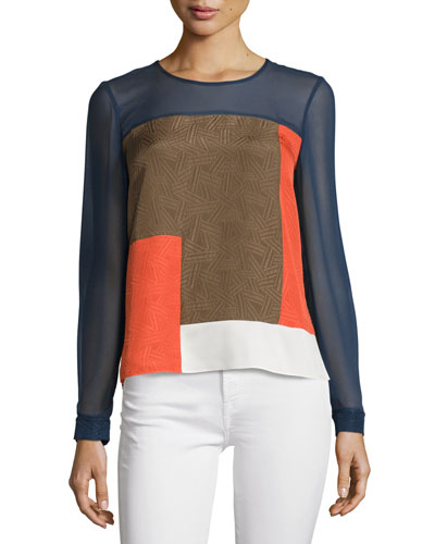 Reagan Long-Sleeve Silk Colorblock Top, Midnight/Orange/Canvas