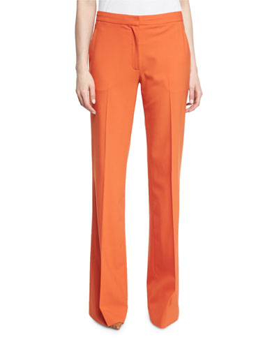 Katara Wide-Leg Wool-Blend Pants, Orange