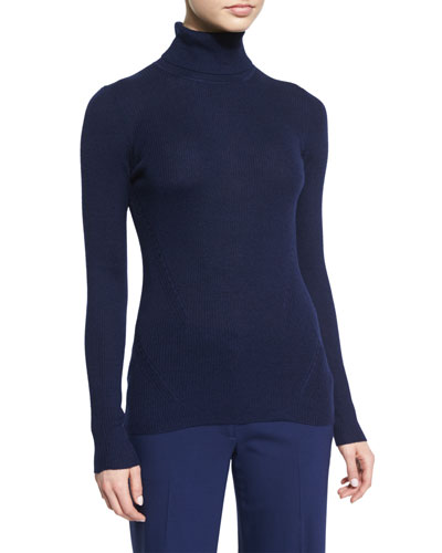 Sutton Wool-Silk Turtleneck Sweater, Midnight