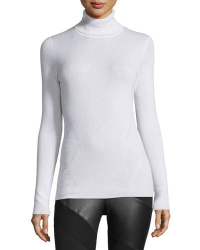 Sutton Wool-Silk Turtleneck Sweater, Canvas White