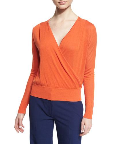 Paz Long-Sleeve Surplice Jersey Top, Orange