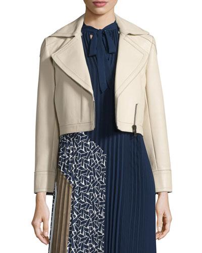 Valeria Leather Zip-Trim Jacket, Tan