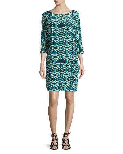 3/4-Sleeve Geometric-Print Silk Shift Dress, Teal